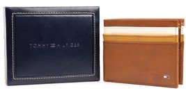 NEW TOMMY HILFIGER MEN'S LEATHER DOUBLE BILLFOLD ID WALLET HONEY TAN 31TL130014 image 4