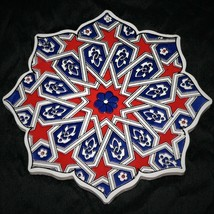 "TRADITIONAL IZNIK TURKISH CERAMIC ART / TRIVET / FOLK ART ~ 7"" OCTAGONAL... - $24.70"