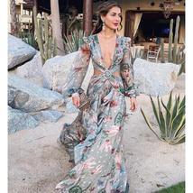 Light Weight Long Sleeve Tropical Floral Sundress image 7