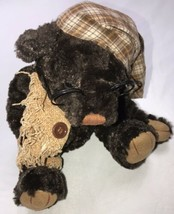 """Dan Dee Collectors Choice Plush Brown Bear with Nightcap Glasses and Scarf 9"""" - $19.15"""