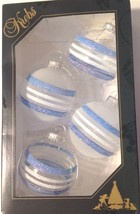 Krebs Christmas Ornament Glass Ball Set 4 Glittery Striped Blue White  - $17.82