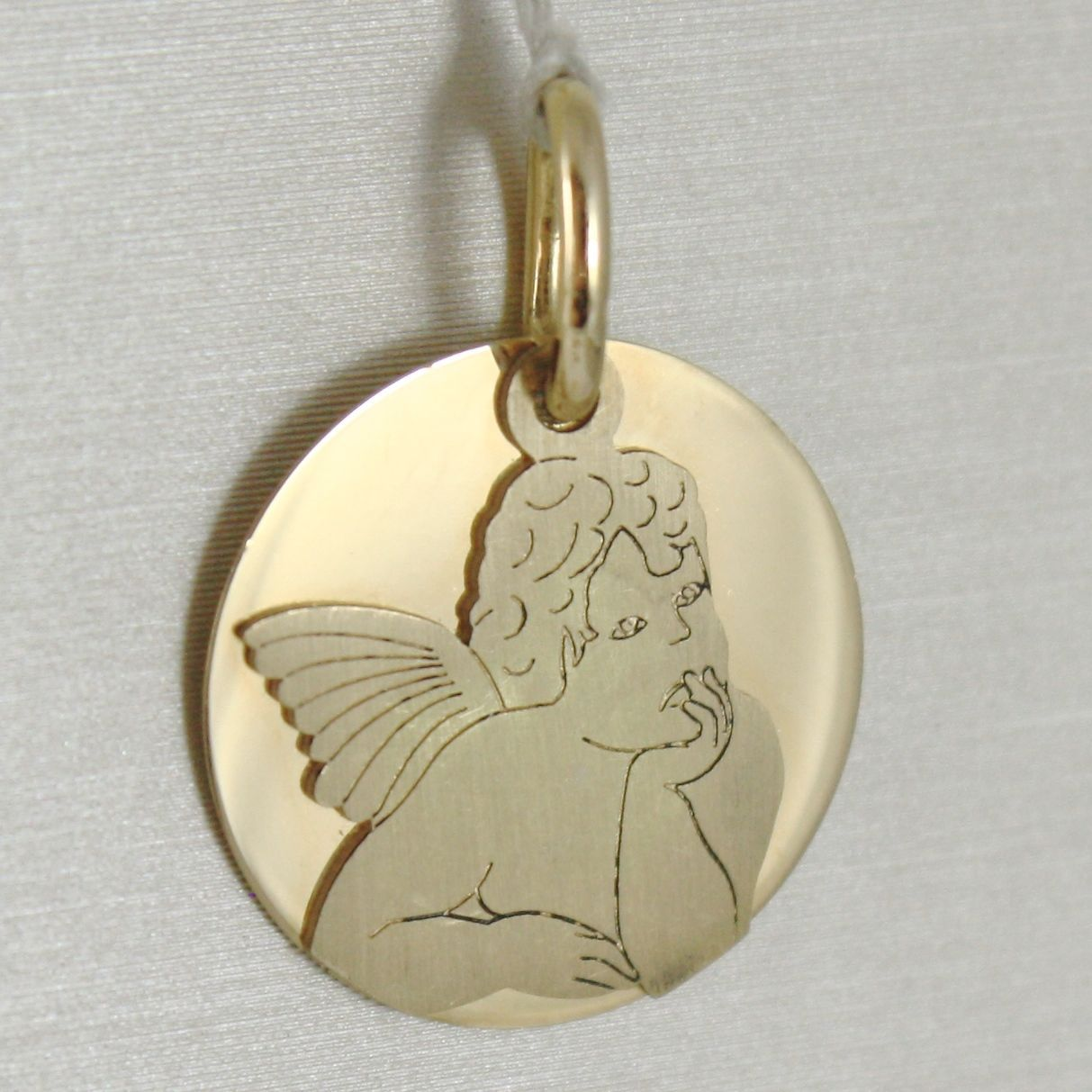PENDANT MEDAL ROUND YELLOW GOLD 750 18K, ANGEL GUARDIAN DOUBLE LAYER, SATIN
