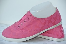 NEW Coach Katie Womens Sz 8 M Pink Signature Canvas Fashion Sneakers - $49.49