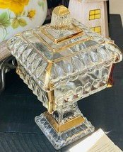 Jeannette Glass WEDDING Line 1874 Clear 22k Gold Trim Bowl with Lid Candy Dish - $24.49