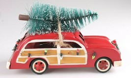 "Wondershop 8"" Christmas Tree Decoration Red Metal Station Wagon Woody Car NEW image 2"
