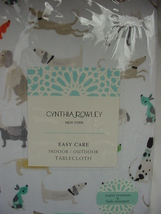"Cynthia Rowley Multi-Color Dogs on White Indoor/Outdoor Tablecloth 70"" R... - $44.00"