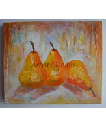 Pears Original Oil Painting Fruits Still Life Textured Food Fine Art Imp... - $85.00