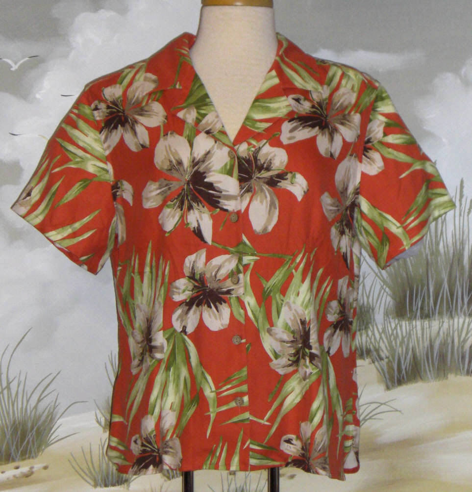 Valerie Stevens Hawaiian Shirt Orange Green Cream Brown Floral  Silk Size Large