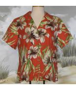 Valerie Stevens Hawaiian Shirt Orange Green Cream Brown Floral  Silk Siz... - $22.76