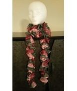 Pink & Grey Mix Ruffle Crochet Scarf - $18.00
