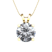 """14K Gold Plated 925 Silver White Cubic Zirconia Solitaire Pendant W/ 18""""... - £28.49 GBP"""