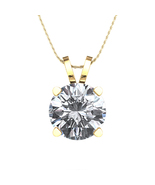 "14K Gold Plated 925 Silver White Cubic Zirconia Solitaire Pendant W/ 18""... - $35.89"