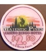 $2.50 Casino Chip. Majestic Pines, Black River Falls, WI. V38. - $5.50