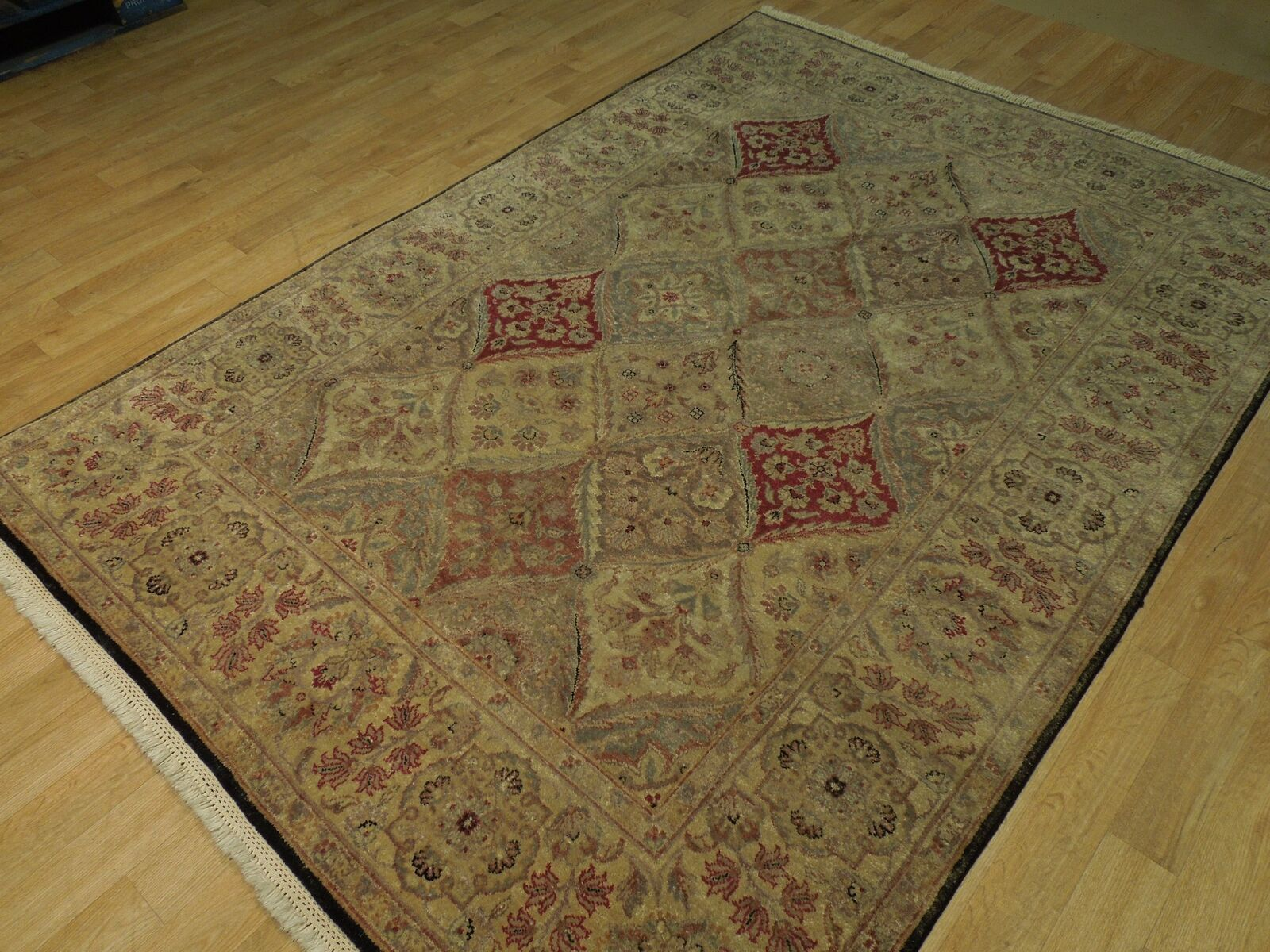 5x7 Multi-Color Oushak Wool Handmade Checked All-Over Transitional Area Rug image 5