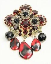 VINTAGE Jewelry VERY RARE JULIANA D&E RED & BLACK GLASS DANGLE BROOCH - ... - $365.00