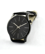 Black Minimalist Watches with Long Stripe Watch Big Size Watch for Men - $43.00