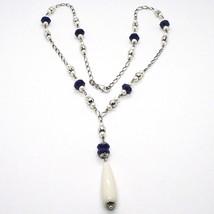 925 Silver Necklace, Lapis Lazuli Blue Disk, Pearls, Pendant Drop image 2