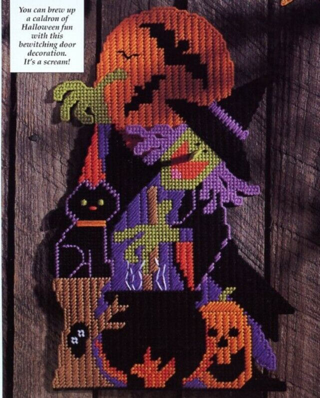 Bewitching Door Sign Halloween Cat Plastic Canvas PATTERN/INSTRUCTIONS Leaflet