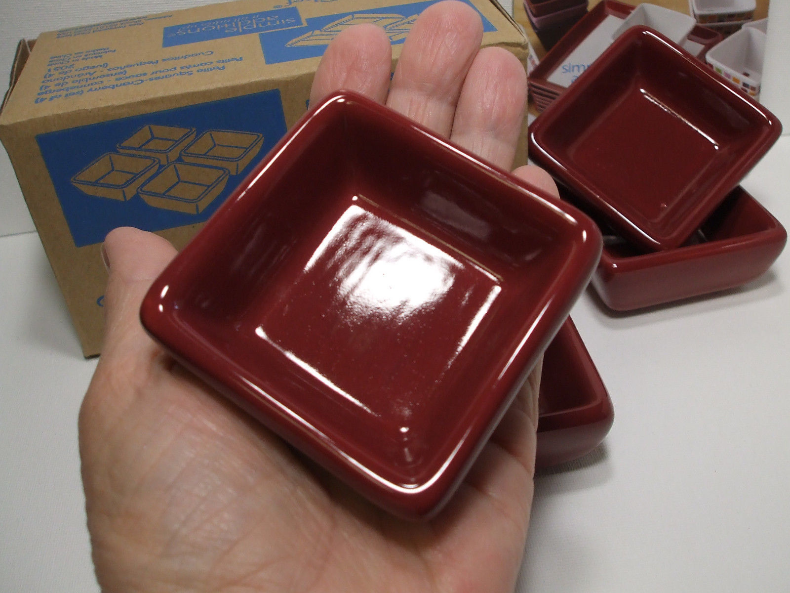 Pampered Chef Simple Additions Petite Squares Cranberry Set of 4 NIB