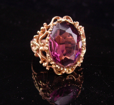 HUGE Vintage Ring / Amethyst gothic costume ring / Dramatic  rose gold p... - $125.00