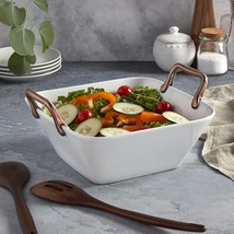 Denmark White Porcelain 11 IN SQUARE Deep Serving Bowl with Copper Handl... - $29.90