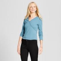 Women's Mossimo Knit V-neck Long Sleeve Blouse Top Nokomis Blue Size XL ... - $4.99