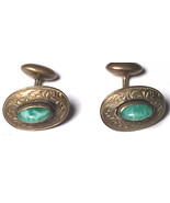 Jade Oval Antique Cufflink 1800s Early 1900s Cuff Links Vintage Art Deco - $34.60