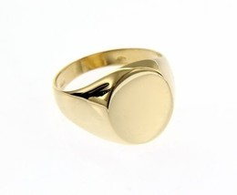 18K YELLOW GOLD BAND MAN RING ROUND ENGRAVABLE BRIGHT SMOOTH MADE IN ITALY image 1
