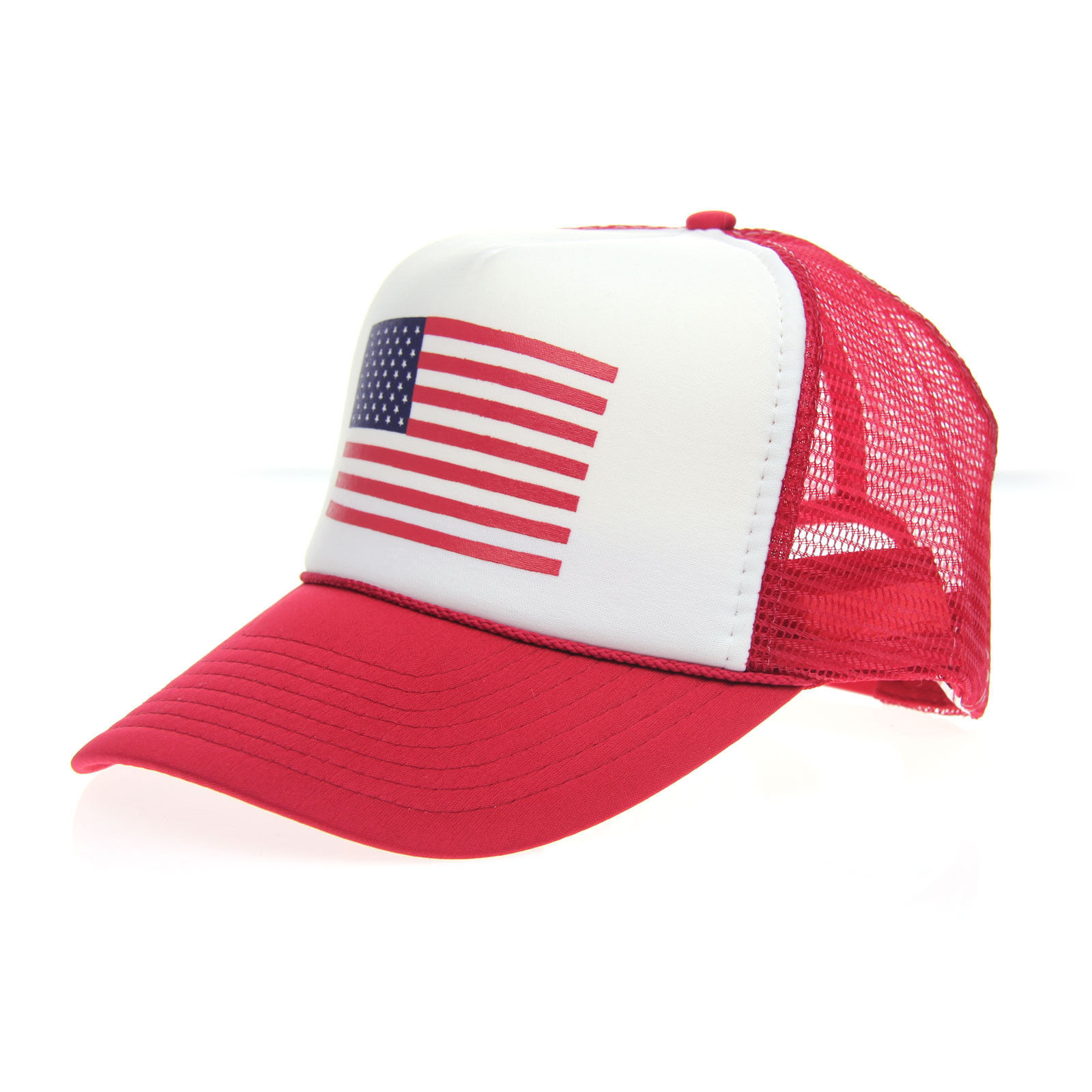 American Flag Adjustable Snap Patriotic USA Classic Mesh Summer Trucker Hat New