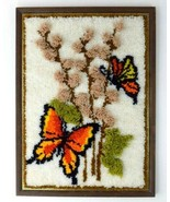 Vintage Butterfly Floral Rug Textured Tapestry Framed Textile Wall Art H... - $48.50