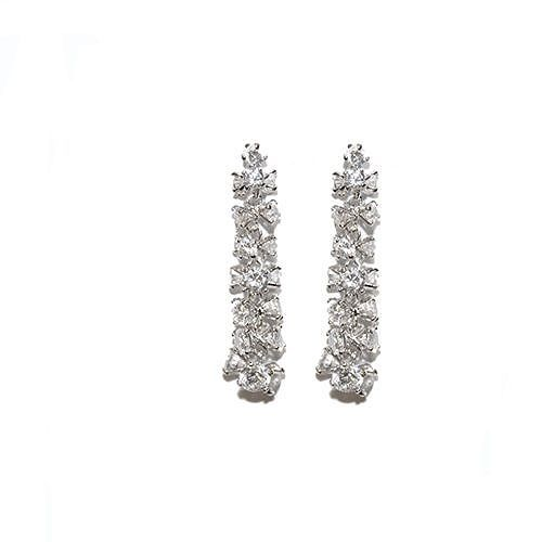 Primary image for Full Cut Cubic Zirconia Cluster Rhoduim Dangle Earrings-50mm