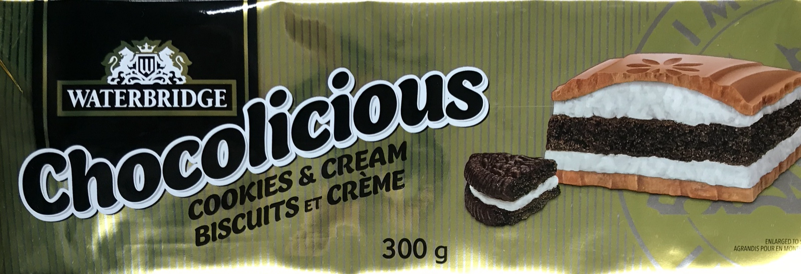 Primary image for Waterbridge Chocolicious Cookies & Cream Chocolate 8 x 300g bars Canadian