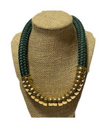 Holst + Lee emerald green braided rope necklace gold tone magnetic closu... - $46.75