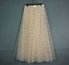 CHAMPAGNE Long Tulle Skirt Women Dotted Puffy Tulle Skirt Champagne Party Skirt image 6