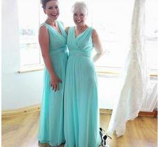 Cheap V-Neck Green Chiffon Long Mother Of the Bride Dress 2019 Formal Women Gown image 5