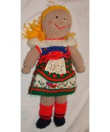 "Vtg Rag Doll Handmade Yarn Crochet Crocheted Knit 17"" Toy Baby - $24.98"