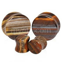 "PAIR-Stone Jasper Sunset Saddle Flare Ear Plugs 19mm/3/4"" Gauge Body Jew... - $14.99"