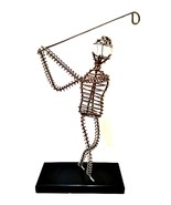 Golf Lover Wire Art Golfer Statue Figurine Black Base 11 inches Tall - $29.69