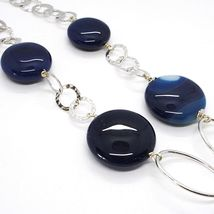 925 Silver Necklace, Agate Blue Striated, Disk, Pendant, Length 50 cm image 4