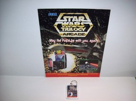 SEGA STAR WARS TRILOGY VIDEO ARCADE GAME PROMO SALES FLYER + PLASTIC KEY... - $19.59
