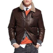Cool Style Faux Fur Men leather coat