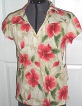 Caribb EAN Joe Knit Top Size S-PM BEIGE/RED - PINK/ORANGE Floral Stretch MSRP;$34 - $15.99