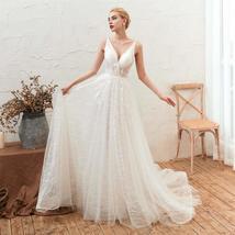 Women's Sleeveless Deep V Neck Backless Bride Lace Evening Gowns ALine Wedding D