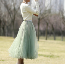 Sage Green Puffy Tulle Skirt Outfit High Waisted Midi Tulle Skirt Holiday Outfit image 4