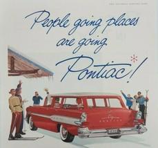 1957 Pontiac Safari Red Vintage Original Magazine Print Ad People going ... - $11.35