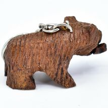 Hand Carved Ironwood Wood Folk Art 3D Grizzly Bear Country Rustic Theme Keychain image 4