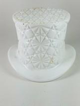 Vintage Fenton White Milk Glass Daisy Button Top Hat Candy Dish - $10.55