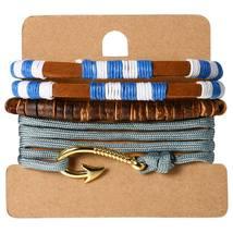 SHIPS FROM USA 3PCS/Set Women Vintage Fishhook Bracelet Multilayer Weave... - $14.95