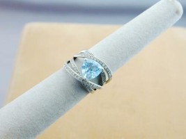 Designer Signed Sterling Trillion Blue Topaz 62 Diamond Wide Crossover R... - $39.99