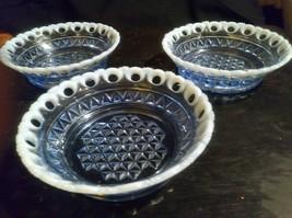 "3 Imperial Depression Glass Katy Blue Lace Edge 5.5"" Diameter Bowls Great Shape! - $58.90"